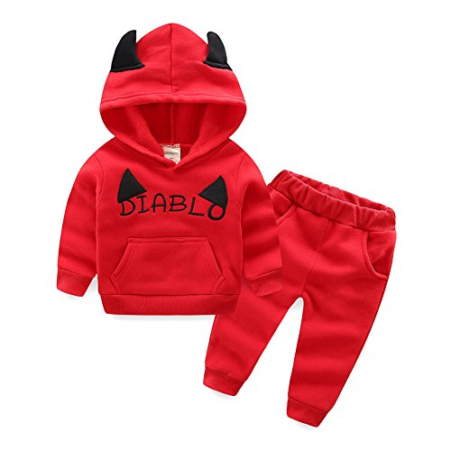 Mud Kingdom Baby Boys Halloween Devil Costume Fleece Clothing Sets Red 3T -