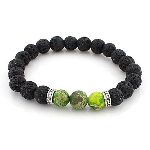 3 Stone Green Bracelet (Chakra Bracelet Lava with 3 Green Stones for Men Women reiki yoga healing balance (Green))