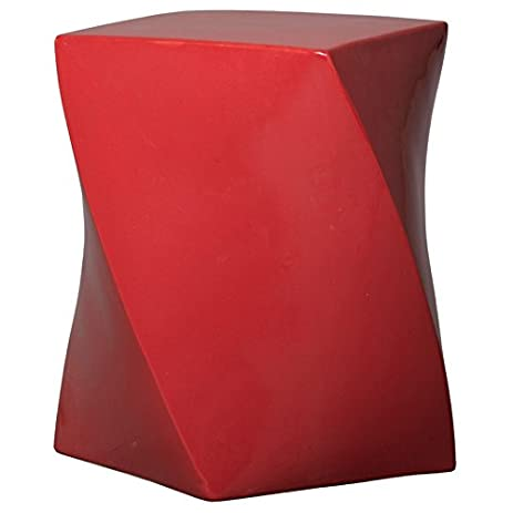 Perfect Twist Garden Stool   Coral Red