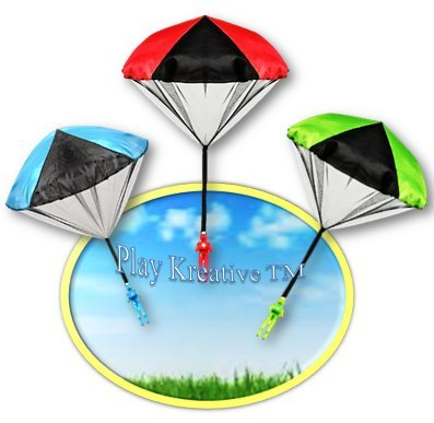 Play Kreative TM Light Up Paratrooper Parachute - Kids Tangle Free Hand Throwing Parachute Action Figure