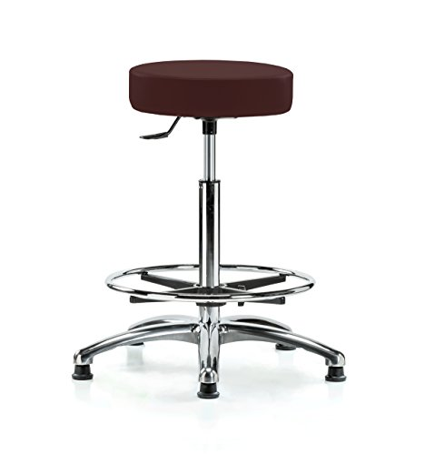 PERCH Chrome Rolling Single Lever Height Adjustable Swivel Stool with Foot Ring, Stationary Caps, Counter Height, Burgundy Vinyl