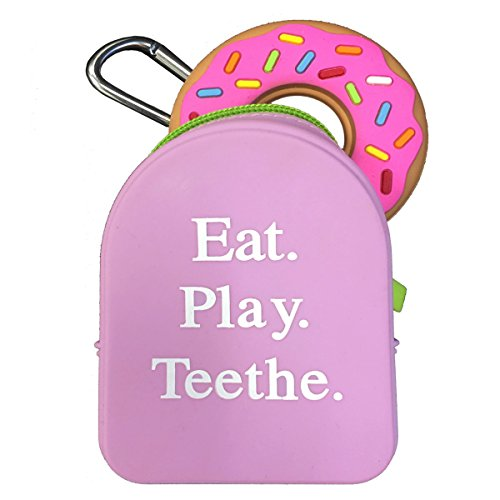 Silli Chews Grab and Go Pacifier Holder, Teether Carry Case, and Donut Teething Toy Gift Set for Baby Showers and Birthday Gifts - Pink ()