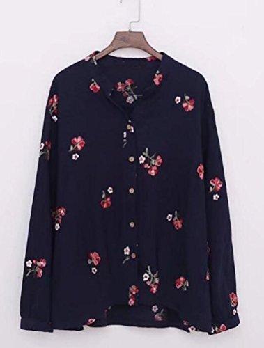 Bleu T Classique Floral Shirt Casual Top Femme Fonc Haut MatchLife Txnqga8wA