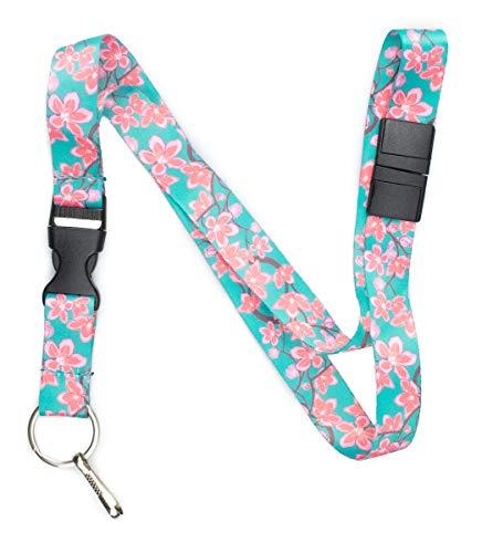 (Limeloot Teal Cherry Blossom Premium Lanyard with Breakaway, Release Buckle, and Flat Ring.)