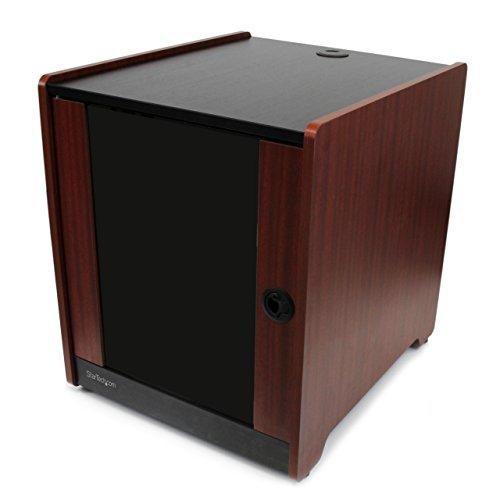 "StarTech.com 12U AV Rack Cabinet - 21"" Deep - Wood Finish - Floor Standing Enclosure for 19"" Audio Video Component, Server Room & Network Equipment (RKWOODCAB12),Black,Wood"