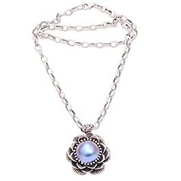 NOVICA Dyed Blue Cultured Freshwater Pearl .925 Sterling Silver Necklace, 19.75″, Sky Lotus'