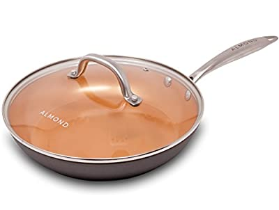Copper Frying Pan, 10 Inch Ceramic Nonstick Saute Pan with Glass Lid, Dishwasher and Oven Safe Skillet by Almond