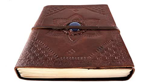 """Leather Journal Diary Hand Tooled with Blue Gold Star Stone 9"""" x 7"""" Handmade Paper 100 Pages"""