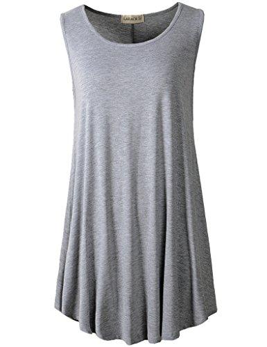(LARACE Women Solid Sleeveless Tunic for Leggings Swing Flare Tank Tops (L, Light Gray))