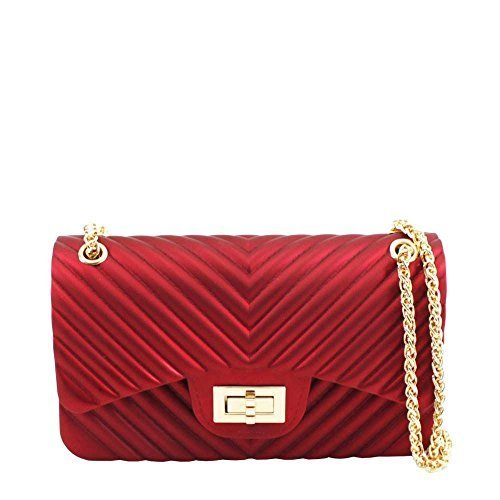 Small Design Red Chain Quilted Bag Shoulder Strap Fashion Rubber Women's Ya6ZnxqwvW