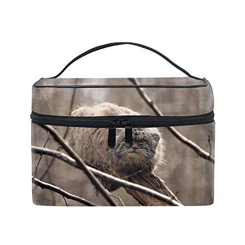 Pallas Cat On Branches Large Travel Makeup Bag Organizer Cosmetic Train Case Toiletry Bags for Women With Handle