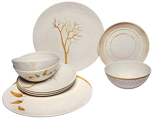 Melange 18-Piece Melamine Dinnerware Set (Gold Nature Collection) | Shatter-Proof and Chip-Resistant Melamine Plates and Bowls | Dinner Plate, Salad Plate & Soup Bowl (6 Each) ()