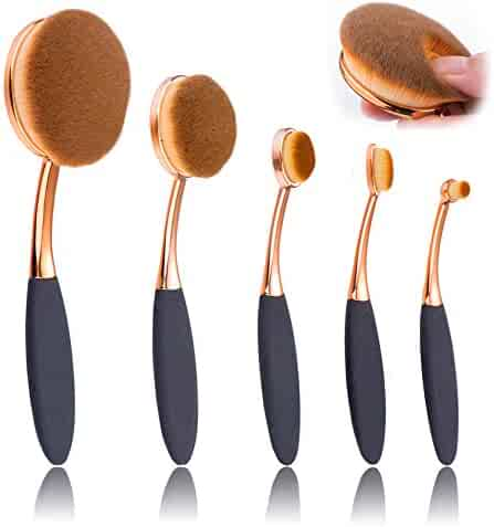 BeautyKate 5 Pcs Oval Makeup Brush Set Professional Foundation Contour Concealer Blending Cosmetic Brushes (Rose Gold Black)