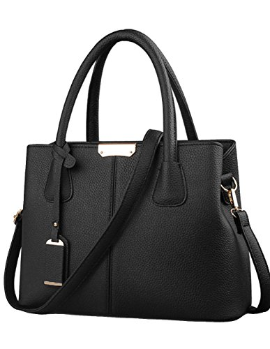 Wink Kangaroo Stylish Women Pu Leather Vertical Utility Top Handle Handbag Business Briefcase Office Lady Purse (Black)