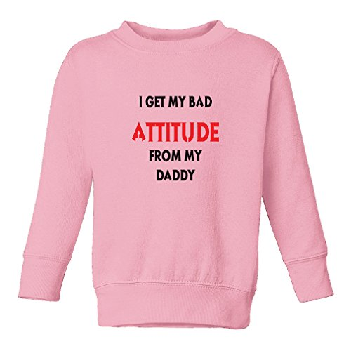 Cute Rascals I Get My Bad Attitude From My Daddy Kid 60/40 Cotton/Polyester Fleece Pullover Sweatshirt - Soft Pink, 7T (Bad Attitude Girls T-shirt)