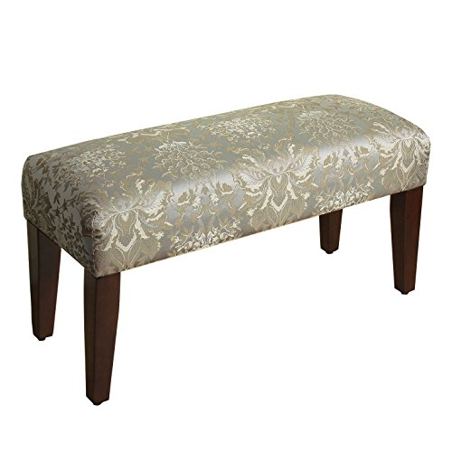 HomePop Upholstered Accent Bench with Wood Legs, Soft Blue Faux Silk Damask by HomePop (Image #2)