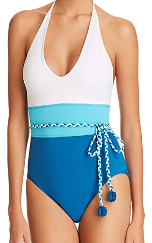 VINCE CAMUTO One Piece Swimsuit Plunge Halter Colorblock Belted Tassel Maillot White Blue 4