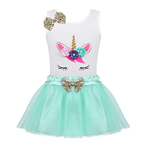 YiZYiF Little Girls Toddler Fancy Sequin Bows Birthday Outfit Novelty Pastel Flowers Shirt with Tulle Tutu Skirt Set Mint Green 12-18 Months -