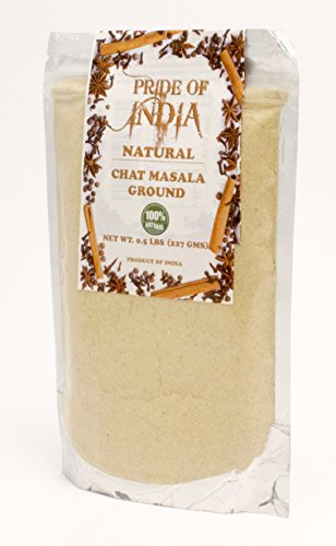 Pride Of India - Tangy Chat Masala Seasoning - Traditional Delhi Style, 8oz (227gm) BUY 1 GET 1 FREE (1 LB TOTAL) PRIME SPECIAL - ADD 2 UNITS TO CART & PAY FOR ONLY 1 UNIT AT CHECKOUT (NO EXCEPTIONS)