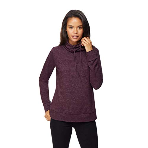 Womens Faux Cashmere Quilted Funnel Neck Pullover Top, Heather Eggplant, ()