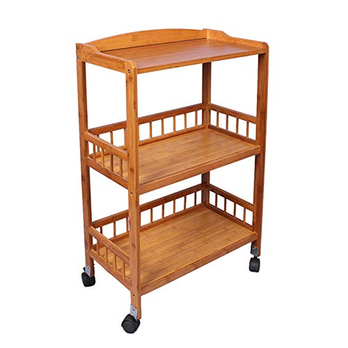 soges 3-Tier Rolling Utility Cart, Kitchen Serving Bar Cart, Multipurpose Use, Bamboo, KS-ZC-05