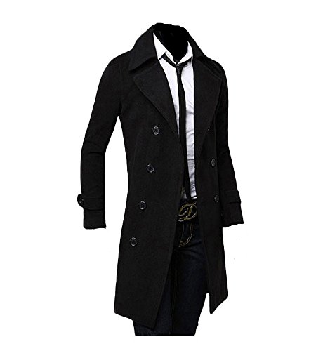 King Ma Winter Warm Men Slim Trench Double Breasted Overcoat Long Jackets (Chinese XXL, black)