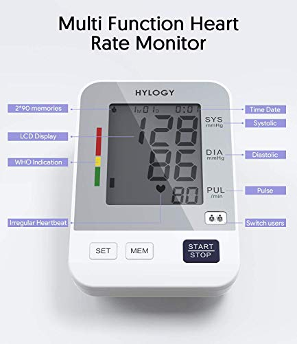 Blood Pressure Monitor Upper Arm, HYLOGY Digital Blood Pressure Machine Automatic with Large Screen Display,2 Users Modes&180 Memories Storage