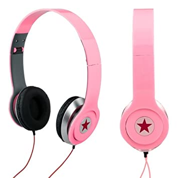 Auriculares Cascos Headphone para DJ PSP MP3 MP4 PC Rosa