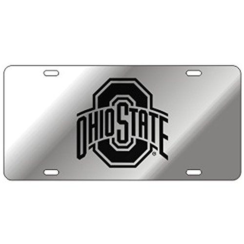 Ohio State Mirror Laser Cut License Plate - Black Logo