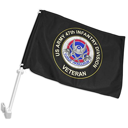 US Army 47th Infantry Unit Crest Veteran Car Flag,Car Window Flag with Bracket,12x18 Inches