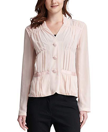 DKNY Sheer Long-Sleeve Blouse (Rose, X-Large)