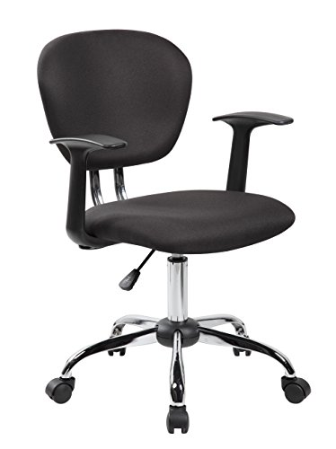 eurosports Task Chair ES-1008F-BK Mid-back Fabric Chair with Arms and Chrome Base, Black by eurosports