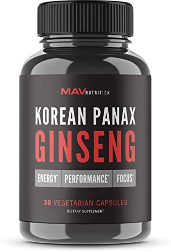 Korean Red Panax Ginseng Extra Strength Root Extract with Ginsenosides for Performance, Energy Focus Vegetarian Friendly Pills for Men Women