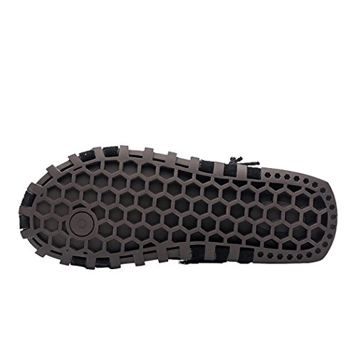 Sun Lorence Hombre Summer Premium Leather Flats Correas Ajustables Y Transpirables Outdoor Athletic Sandals Black