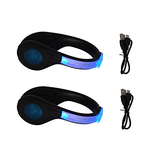 Vaburs LED Shoe Clip Safety Light USB Rechargeable HIGT Reflective Gear for Walking,Jogging,Running,Cycling(2 Pcs -
