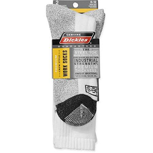 Dickies 2-Pair Mens Premium Crew Style Shin Protector Work Socks, White, Shoe size 6-12