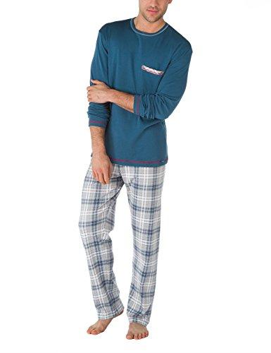 Calida Pajama - Calida Mens Heavy Interlock 100% Cotton Knit Pajamas Set Family time 41065/974 (Small, 974)