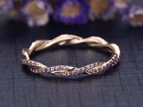 Natural Amethyst Wedding Band Solid 14k Rose Gold Full Eternity Genuine Purple Gemstone Twist Engagement Ring Bridal Stacking Ring Anniversary Gift February Birthstone ()