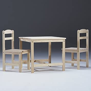 Superb Unfinished Wood Kidsu0027 3 Piece Table And Chair Set