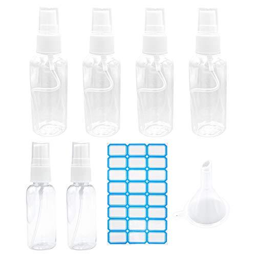 Sprühflasche, S-Mechanic Tragbares Reiseflaschen Leere Flasche für Händedesinfektionsmittel Desinfektionsmittel Parfümzerstäuber mit 1 Stück Trichter und 24 Stück Etiketten (6 Stück)