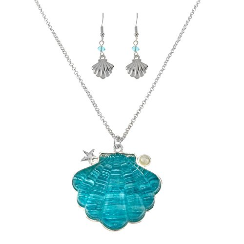 Sea Life Textured Colored Stone Necklace and Earrings