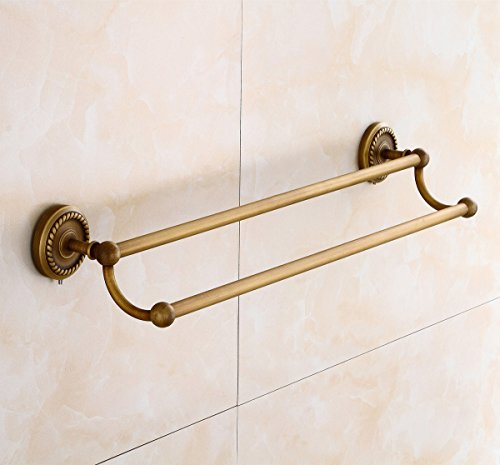 Aimeer Solid Brass Towel Bar Antique European Wall Mount Flowers Double Luxury 23 inch Bathroom Accessories (Antique Brass Double Towel Bar)