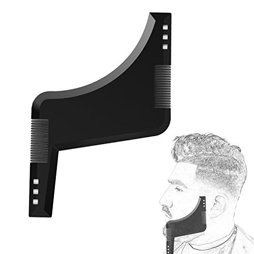 Keria 2019 Beard Shaping & styling tool for ideal line up & edging.Goatee Template & Mustache Comb, Tow Shape in One Fits All, Curve Cut, Step Cut,Men's Necessities