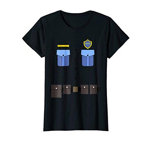 Womens Police Uniform Costume T-Shirt | Halloween Cop