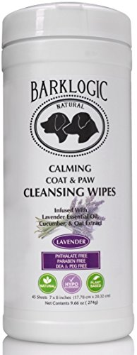 BarkLogic Calming Coat & Paw Wipes - 45 Sheets - Infused With Soothing Lavender Essential Oil - No Parabens, No Phthalates, No Sulfates, No DEA & PEG, Hypoallergenic & Vegan