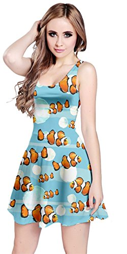 CowCow Womens Finding Nemo Sea Animal Pattern Sleeveless Dress, Red - M -