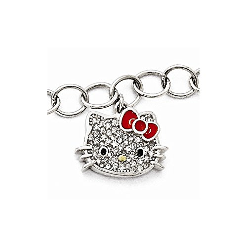 Hello Kitty Sterling Silver Crystal/Enamel Red Bow Collection Bracelet