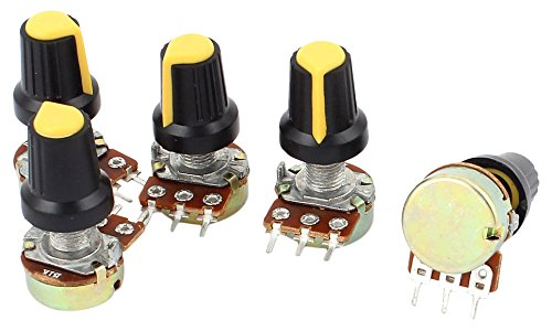 Uxcell a15040700ux0379 5 Piece 1K Ohm 3 Terminals Linear Taper Rotary Audio B Type Potentiometer Pot B1K (Audio Taper)