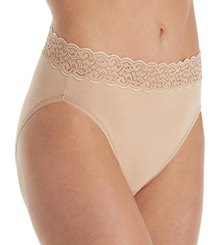 Vanity Fair Stretch Briefs (Vanity Fair Women's Flattering Lace Cotton Stretch Hi Cut Panty 13395, Honey Beige, 2X-Large/9)