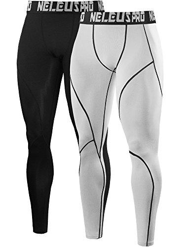 Neleus Men's 2 Pack Compression Pants Workout Running Tights Leggings,6013,Black,White,US M,EU L